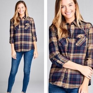 Navy Taupe Flannel Shirt